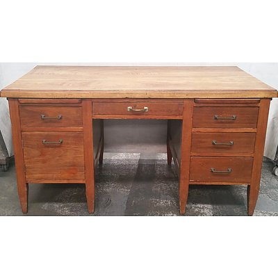 Vintage Stained Timber Desk
