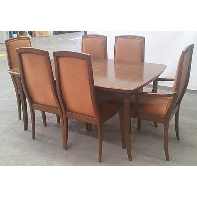 Stained Timber Extending Dinning Table & Chairs