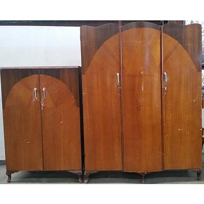 Art Deco Queensland Black Walnut and Maple Wardrobe and Cabinet - Circa 1940's