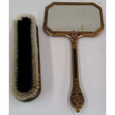 Vintage Hand Mirror and Clothes Brush