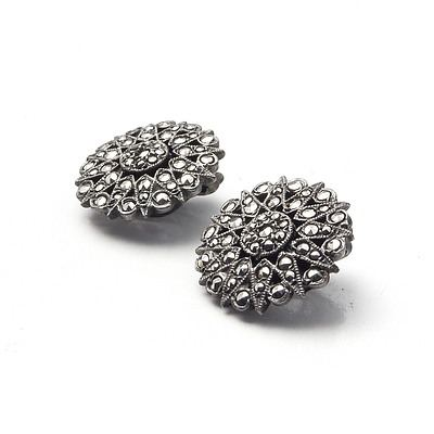 Round Clip Back Marcasite Earrings