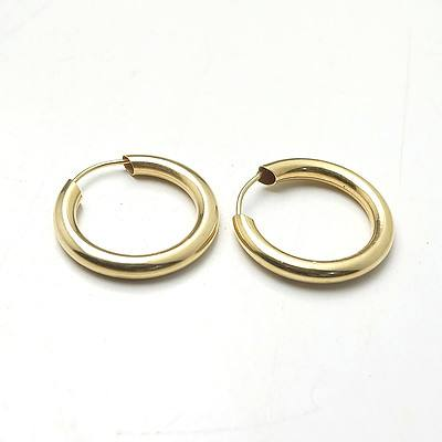 9ct Yellow Gold Hollow Hoop Earrings