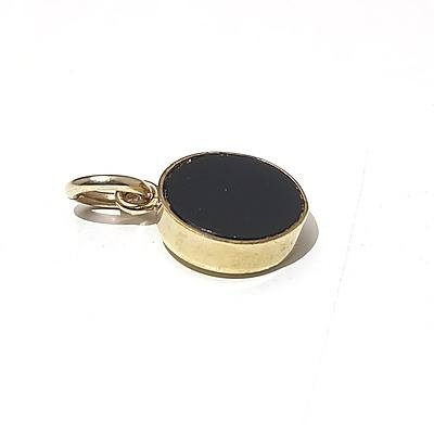 Yellow Gold Pendant with Whitby Jet