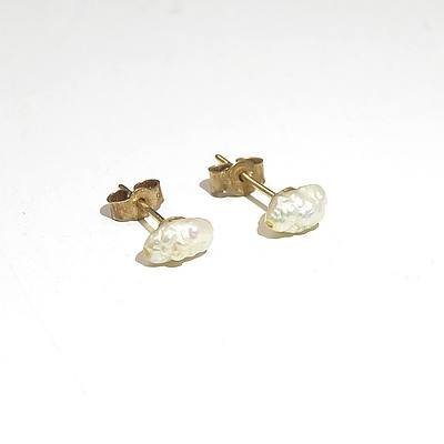Yellow Gold Earrings with Freshwater Pearls