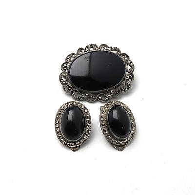 Mourning Set Brooch & Earrings in Whitby Jet Marcasite
