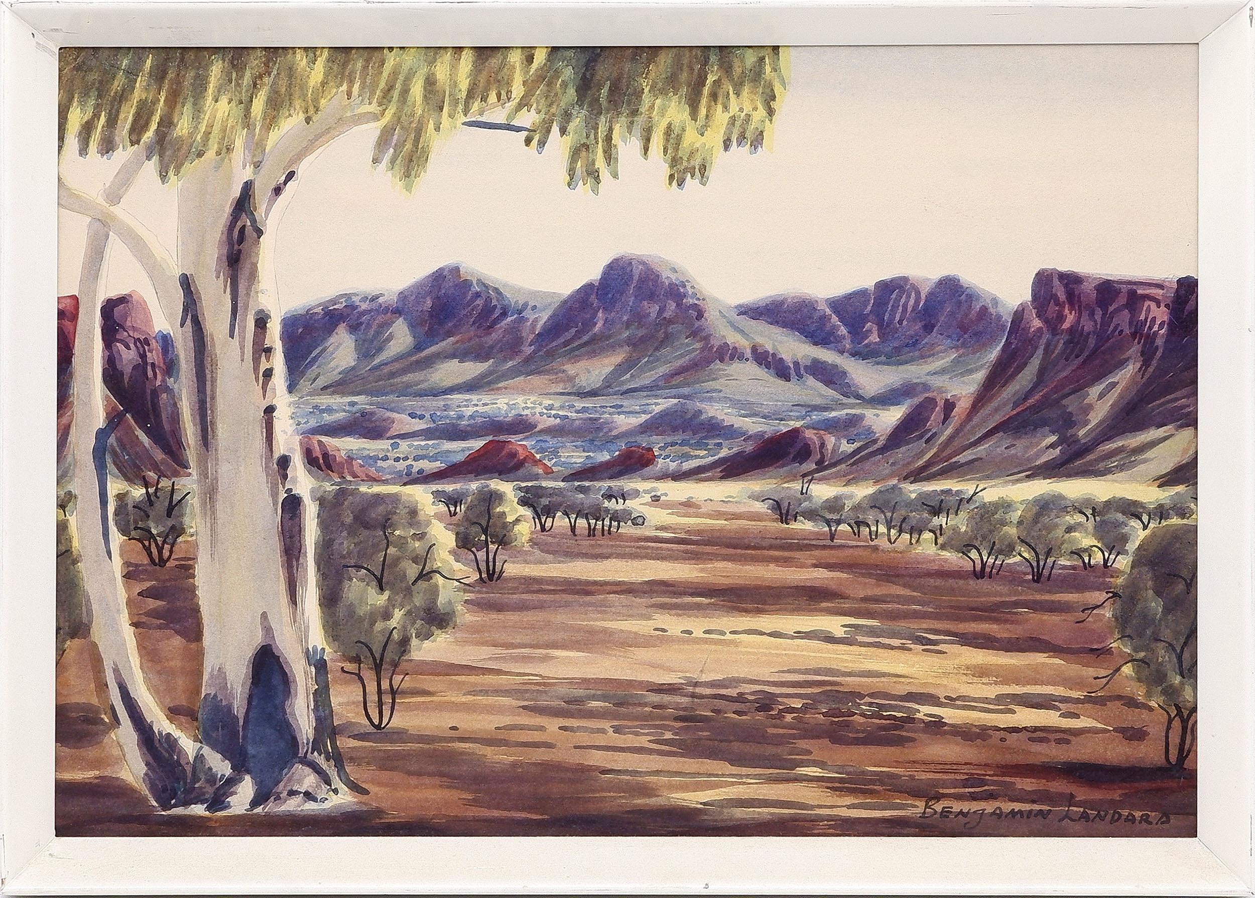 'Benjamin Landara (1921-85) Haasts Bluff, Watercolour'