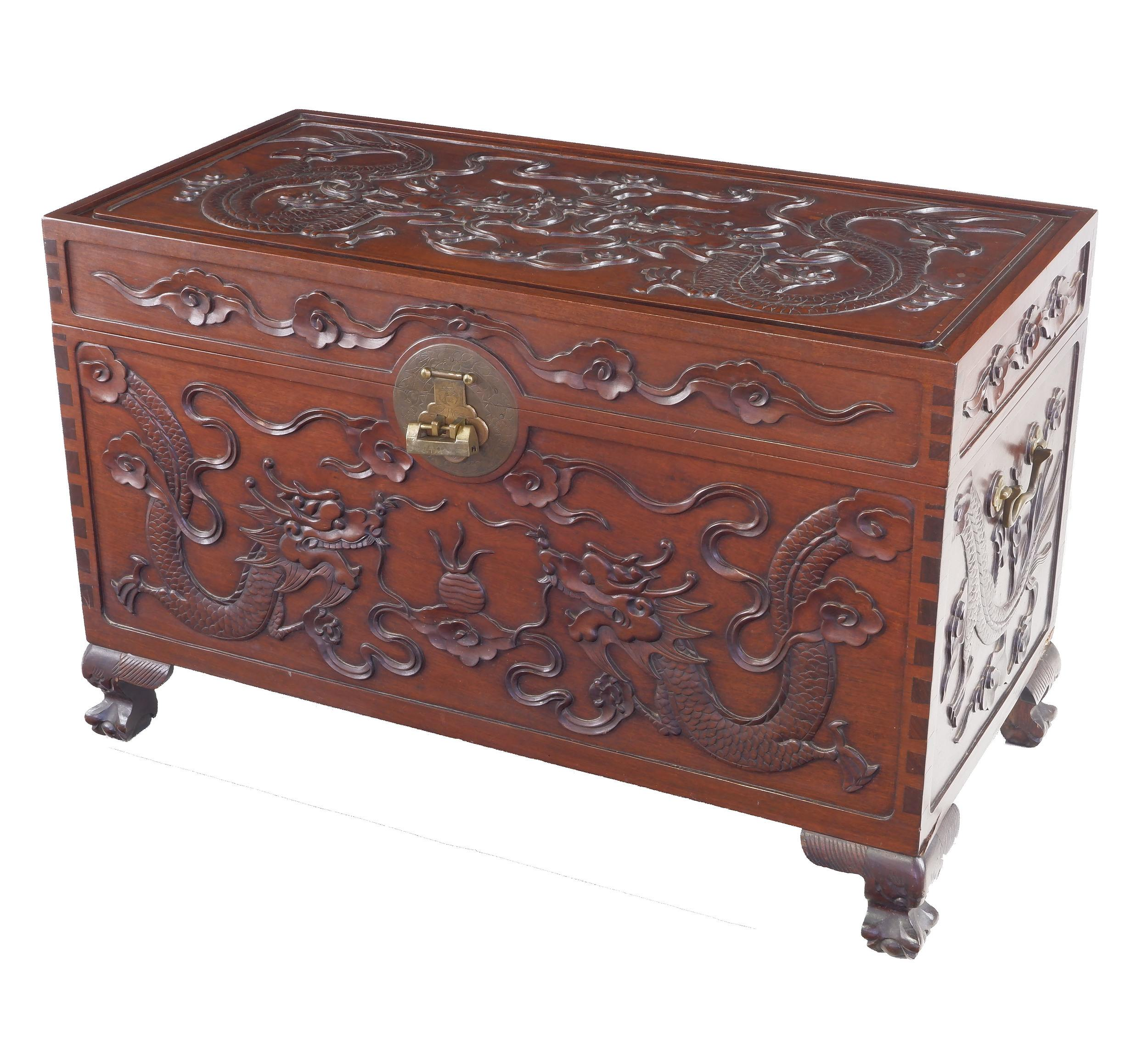 'Good Chinese Dragon Carved Camphorwood Chest Early 20th Century'