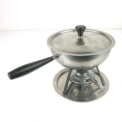 Retro Swiss Stainless Steel Warming Dish with Spirit Burner and Stand
