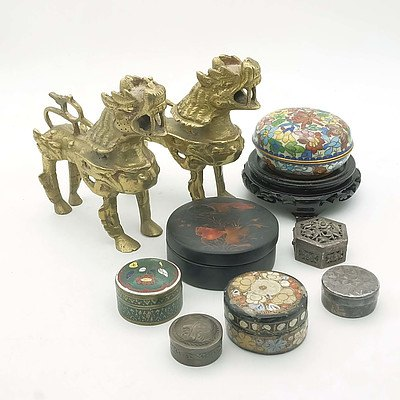 Group of Oriental Wares Including Small Lacquer and Silver Boxes, Brass Buddhist Lions
