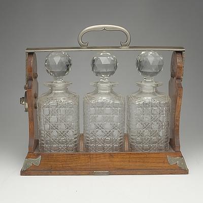 Victorian Oak And Silvered Brass Betjemann's Patent Tantalus
