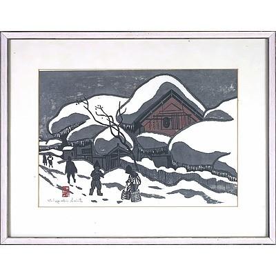 Kiyoshi Saito (Japanese 1907–1997) Winter in Aizu, Woodblock