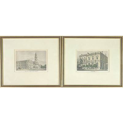 Two 19th Century Australian Hand Coloured Engravings, National Bank and Town Hall and Eagle Chambers Adelaide