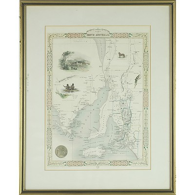 19th Century Hand Coloured South Australia Map