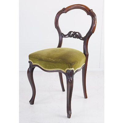 Late Victorian Rosewood Balloon Back Chair
