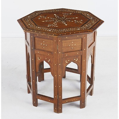 Indian Bone And Ebony Inlaid Padouk Octagonal Low Table Early 20th Century