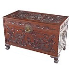 Good Chinese Dragon Carved Camphorwood Chest Early 20th Century