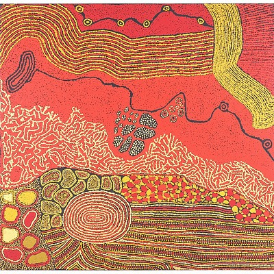 Rini Tiger (Amata, Dates Unknown) Perentie Man Creation Story 2010, Oil on Canvas