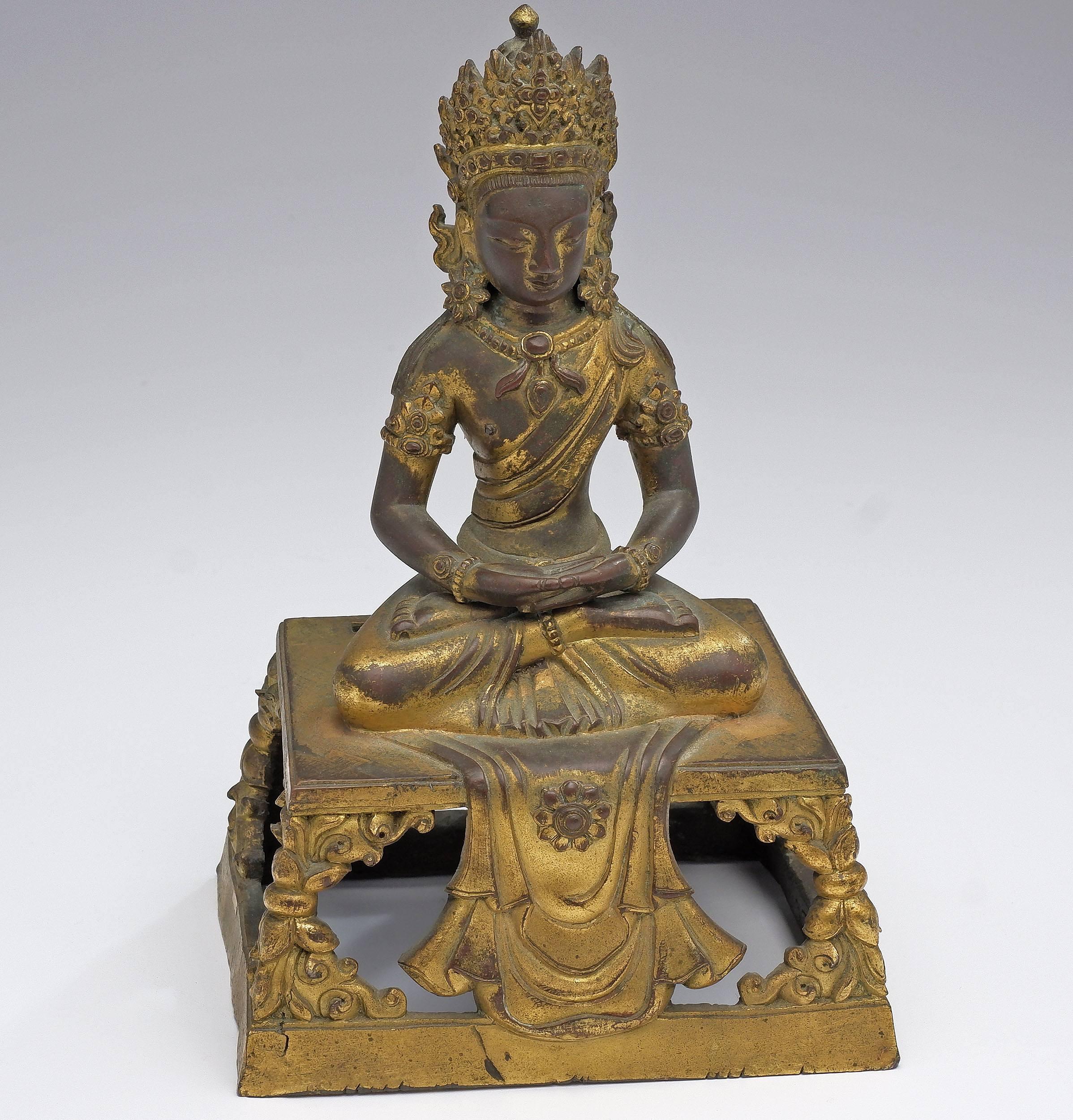 'Sino-Tibetan Gilt Bronze Figure of Buddha Amitayus, Qianlong Period, 18th Century'