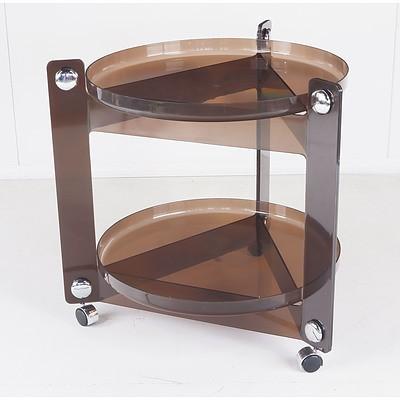 Retro 1970's Circular Plastic Mobile Table
