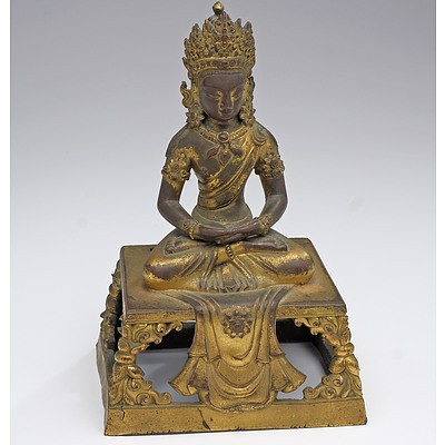 Sino-Tibetan Gilt Bronze Figure of Buddha Amitayus, Qianlong Period, 18th Century