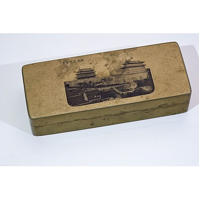 Chinese Paktong Ink Box Engraved with The Forbidden City