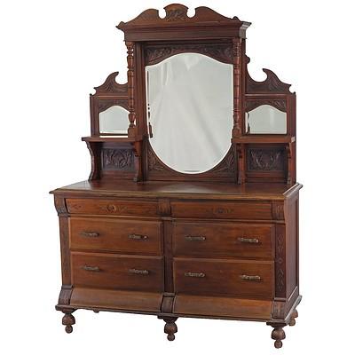 Substantial Late Victorian Mahogany Dresser, Circa 1890