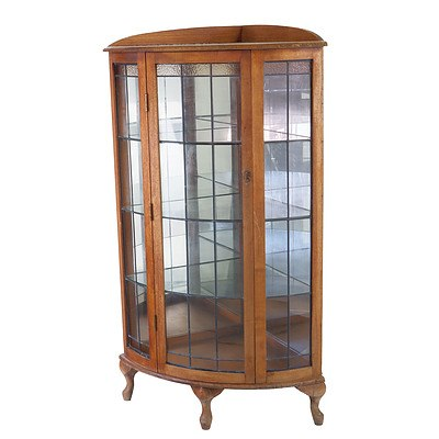 Tasmanian Oak Corner Curved Leadlight China Cabinet Circa 1920's