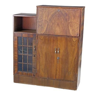 Vintage Queensland Black Walnut Veneer Bureau Bookcase Circa 1940's
