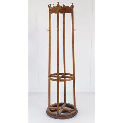 Arts and Crafts Style Oak Revolving Coat Umbrella Stand with Drip Trays
