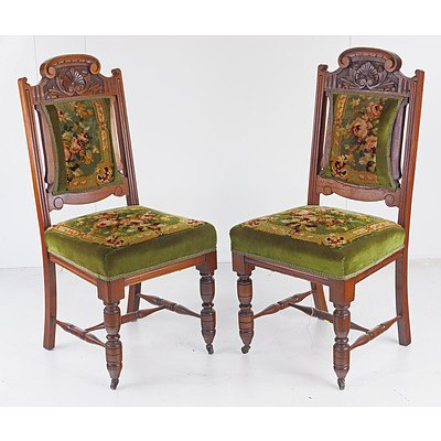 Six Tasmanian Blackwood Dining Chairs with Tapestry Upholstered Seats, Early 20th Century