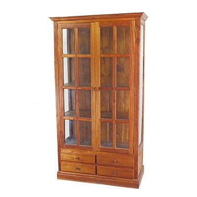 Contemporary Teak Cabinet with Glass Panel Doors