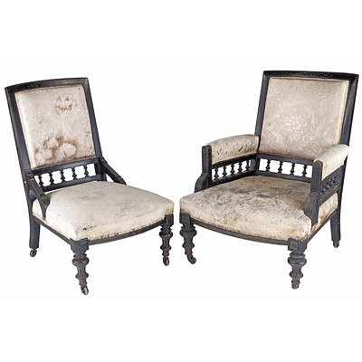 Pair Late Victorian Ebonised Salon Chairs, Aesthetic Movement