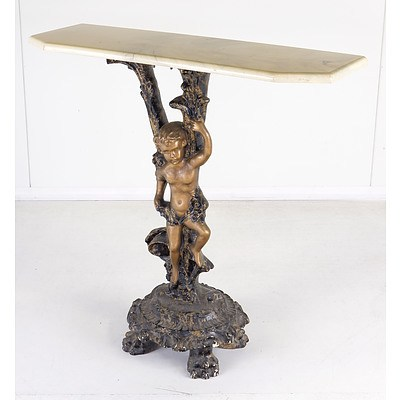 Small Cast Resin and Faux Marble Cupid Pedestal Console Table