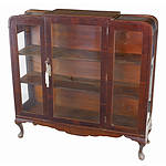 Vintage Queensland Black Walnut Veneer China Cabinet