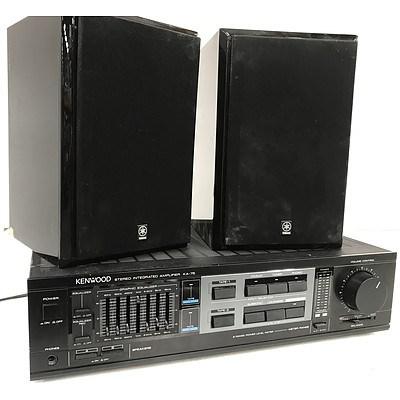 Kenwood KA-75 Stereo Integrated Amplifier & Yamaha Speakers