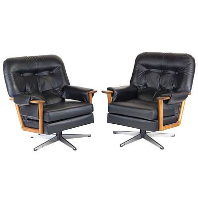 Pair of Black Leather and Vinyl Upholstered Tessa Style Armchairs