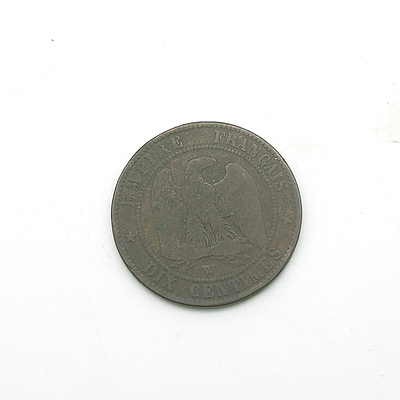 1855 France Napoleon III 10 Centimes Coin