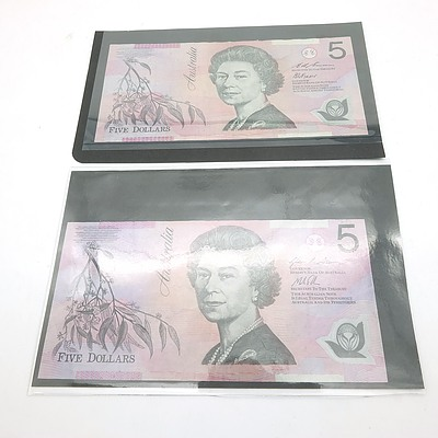 Two Australian Five Dollar Banknotes