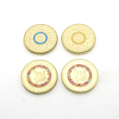 Two 2016 Australian 'Olympic Team' Blue and Yellow Two Dollar Coins and Two 2017 Australian 'Possum Magic' Two Dollar Coins