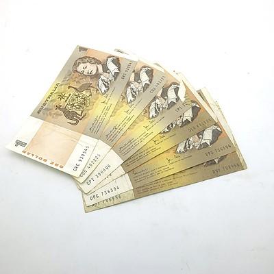 Six Australian One Dollar Banknotes