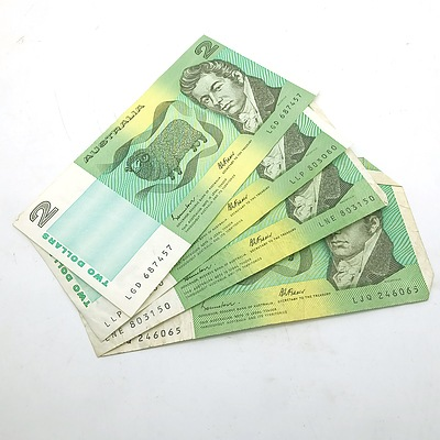 Four Australian Two Dollar Banknotes