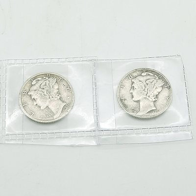 1935 and 1936 US 'Mercury' Dime