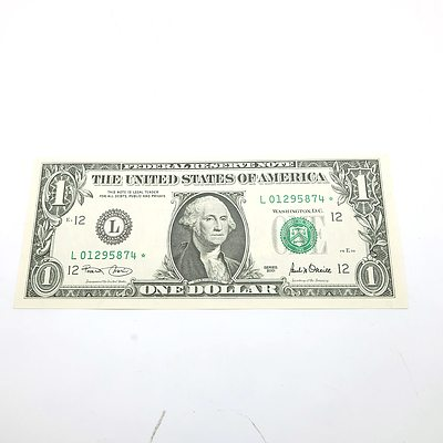 2001 US One Dollar 'Star' Banknote