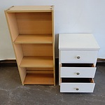 White Triple Drawer Unit and Laminate Bookshelf with 3 Shelves