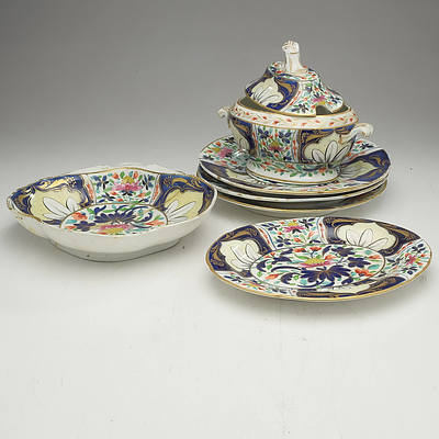 Group of Early Victorian Hand Painted and Polychromed Porcelain, Plate with Antique Staple Repairs