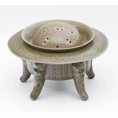 Chinese Song Yaozhou Style Celadon Incense Burner, 20th Century