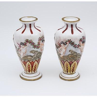 Pair Antique French Capodimonte Style Relief Moulded Tin Glaze Porcelain Specimen Vases