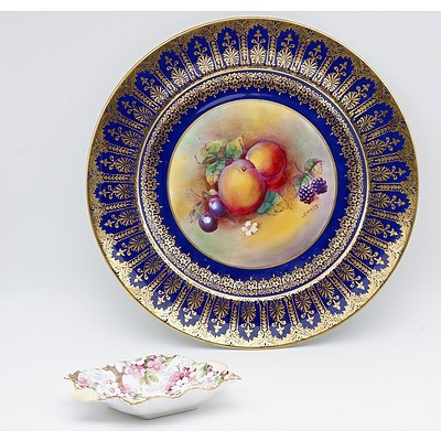 Paragon Hand Painted Fruit and Gilt Trimmed Display Plate Signed T Martin, and a Shelley Trinket Dish