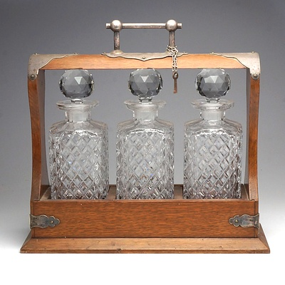 Victorian Oak and Silver Plated Tantalus