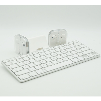 Apple Model A1359 Keyboard and Two Sets of Apple Headphones